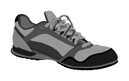 Tying sports shoes vector illustration isolated on white background. Sneakers sports wear. Modern foot wear. Elegant equipment for gym and outdoor activity. Ilustração