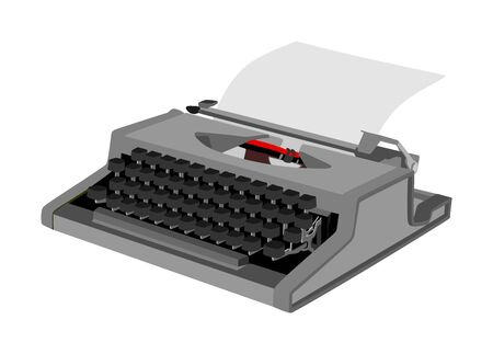 Vintage type writer with paper sheet vector isolated on white background. Typing machine vector illustration isolated. Journalist equipment.