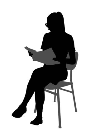 Elegant young woman reading book vector silhouette illustration isolated on white background. Girl sitting on chair and reading magazine. Student lady working after class. Quality time in waiting room Çizim