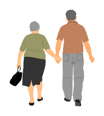 Happy elderly seniors couple hold hands vector illustration. Mature coupe in love together on white background. Grandmother and grandfather closeness in public. Golden age for travel and peace in soul