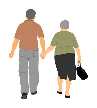 Happy elderly seniors fat couple hold hands vector illustration. Mature coupe in love together on background. Grandmother and grandfather closeness in public. Golden age for travel and peace in soul.