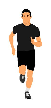 Marathon racer running. Exercise people vector illustration. Healthy lifestyle man. Sport race. Urban runner on the street. Healthcare concept. Jogging after stressful work day. Health young man. 写真素材 - 129272103