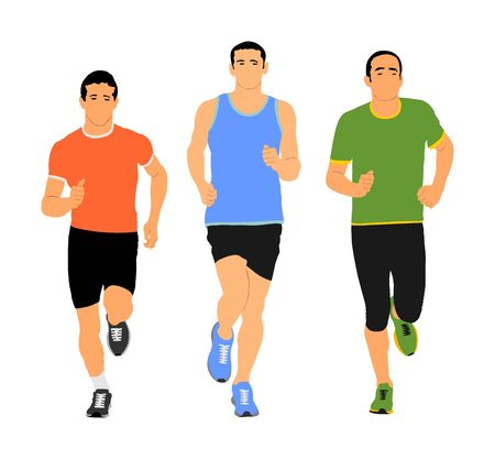 Group of marathon racers running. Sport people vector illustration. Healthy lifestyle jogging men. Traditional urban race. Runners on the street. Team building concept. Health care activity after work Illustration