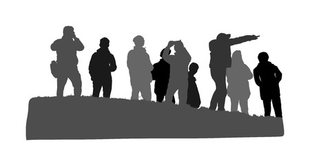 People traveling and having rest. Group of tourist on top of the hill vector silhouette. Hikers with backpacks enjoying valley view from mountain. Rescue team observers. Passenger crew on vacation.