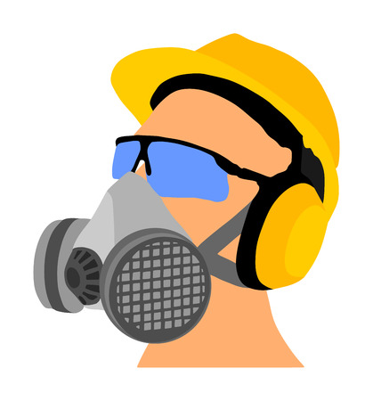 Worker with helmet, gas mask and protect glasses vector isolated on white background. Protective gear. Laborer equipment for engineer. Bio hazard equipment against air contamination. Oil platform kit. Vetores