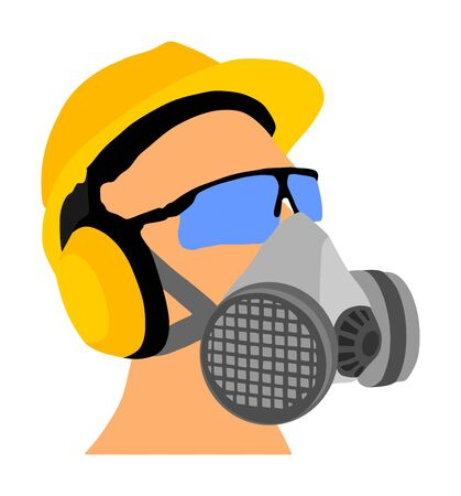 Worker with helmet, gas mask and protect glasses vector isolated on white background. Protective gear. Laborer equipment for engineer. Bio hazard equipment against air contamination. Oil platform kit.