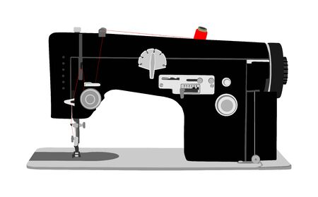 Sewing machine vector illustration isolated on white background. Fashion industry tool. Stock fotó - 129272121