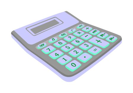 Calculator vector isolated on a white background with blank screen. Finance tool, math kit.
