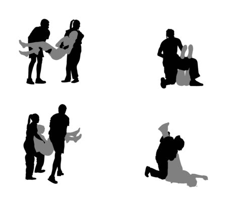 Paramedic rescue patient first aid vector silhouette. Woman in unconscious drowning. Drunk person overdose. Sneak attack victim rescue. CPR rescue team. Victim of fire evacuation. Earthquake rescue. Illustration
