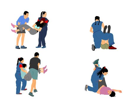 Paramedic rescue patient first aid vector illustration. Woman in unconscious drowning. Drunk person overdose. Sneak attack victim rescue. CPR rescue team. Victim of fire evacuation. Earthquake rescue