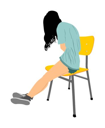 Drunk school girl overdose in unconscious. First aid vector illustration. Patient woman need urgent help . Drugged person overdose after party. Unhealthy teenager struggle for life, weakness stress.