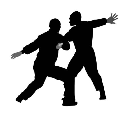 Self defense battle vector illustration. Man fighting against aggressor with gun or pistol. Krav maga demonstration in real situation. Combat for life against terrorist. Army skill action. Policeman. Imagens - 129272182