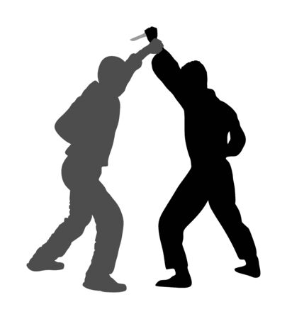 Self defense battle vector silhouette. Man fighting against aggressor with knife. Krav maga demonstration in real situation. Combat for life against terrorist. Army skill in action. Policeman arrest. Imagens - 129272175
