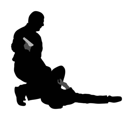 Self defense battle vector illustration. Man fighting against aggressor with gun or pistol. Krav maga demonstration in real situation. Combat for life against terrorist. Army skill action. Policeman. Imagens - 129272190