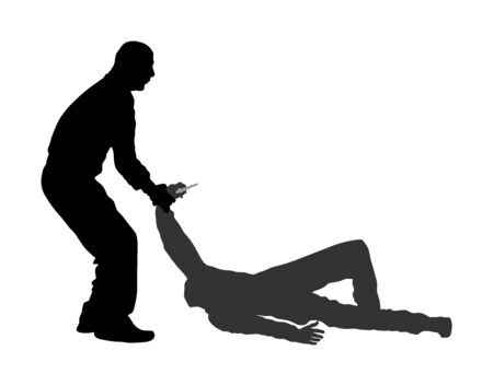 Self defense battle vector silhouette. Man fighting against aggressor with knife. Krav maga demonstration in real situation. Combat for life against terrorist. Army skill in action. Policeman arrest. Imagens - 129272187