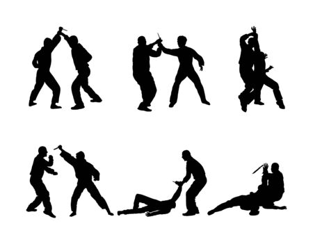 Self defense battle vector silhouette. Man fighting against aggressor with knife. Karate demonstration in real situation. Combat for life against terrorist. Army skill in action. Policeman arrest
