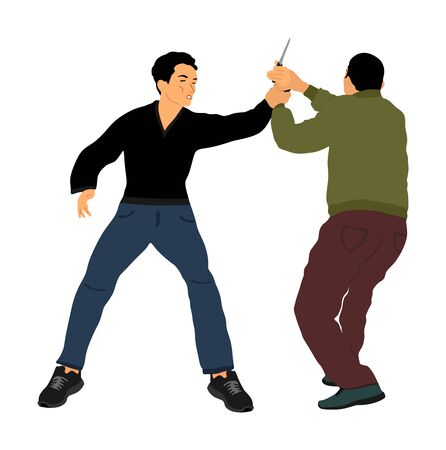 Self defense battle vector illustration. Man fighting against aggressor with knife. Krav maga demonstration in real situation. Combat for life against terrorist. Army skill in action. Policeman arrest.