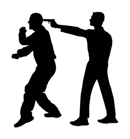 Self defense battle vector silhouette. Man fighting against aggressor with gun pistol. Krav maga demonstration real situation. Combat for life against terrorist. Army skill action. Policeman arrest. Imagens - 129272196