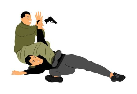 Self defense battle vector illustration. Man fighting against aggressor with gun pistol. Krav maga demonstration real situation. Combat for life against terrorist. Army skill action. Policeman arrest.