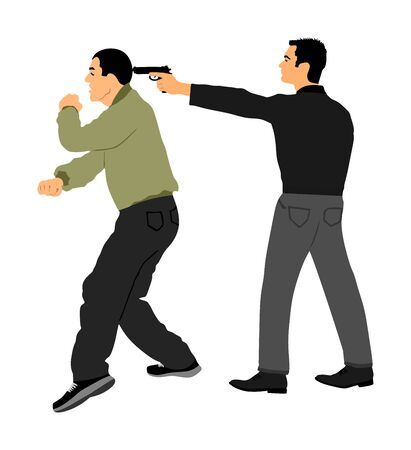 Self defense battle vector illustration. Man fighting against aggressor with gun pistol. Krav maga demonstration real situation. Combat for life against terrorist. Army skill action. Policeman arrest. Imagens - 129272189