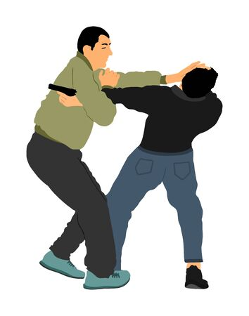 Self defense battle vector illustration. Man fighting against aggressor with gun pistol. Krav maga demonstration real situation. Combat for life against terrorist. Army skill action. Policeman arrest. Imagens - 129272198