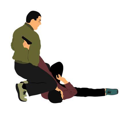Ilustración de vector de batalla de autodefensa. Hombre luchando contra el agresor con pistola. Situación real de la demostración de Krav maga. Combate de por vida contra terroristas. Acción de habilidad del ejército. Arresto policial. Ilustración de vector