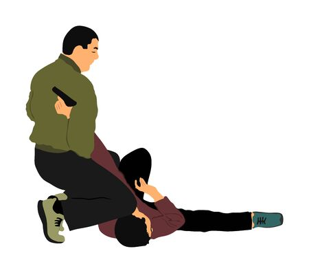 Self defense battle vector illustration. Man fighting against aggressor with gun pistol. Krav maga demonstration real situation. Combat for life against terrorist. Army skill action. Policeman arrest. Imagens - 129272199
