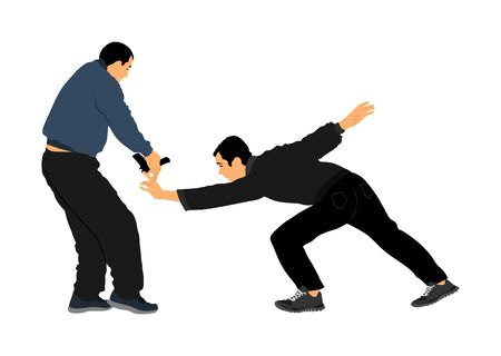 Self defense battle vector illustration. Man fighting against aggressor with gun pistol. Krav maga demonstration real situation. Combat for life against terrorist. Army skill action. Policeman arrest. Imagens - 129272192