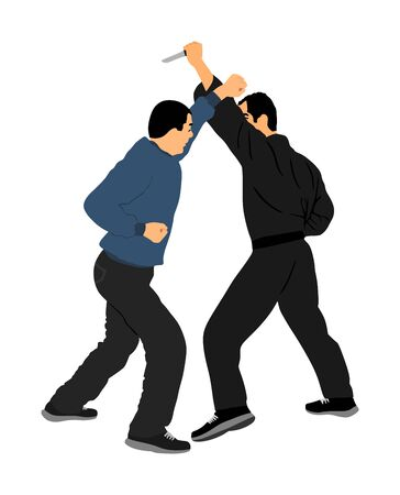 Self defense battle vector illustration. Man fighting against aggressor with knife. Krav maga demonstration in real situation. Combat for life against terrorist. Army skill in action. Policeman arrest. Imagens - 129272197