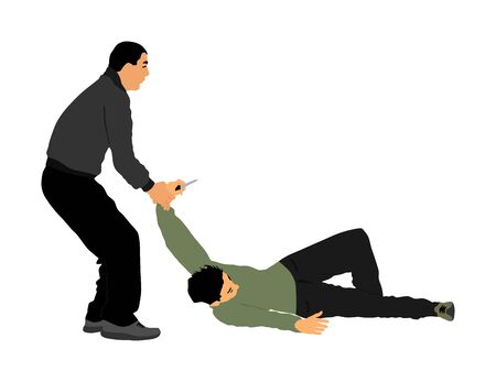 Self defense battle vector illustration. Man fighting against aggressor with knife. Krav maga demonstration in real situation. Combat for life against terrorist. Army skill in action. Policeman arrest. Imagens - 129272212