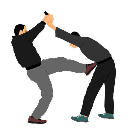 Self defense battle vector illustration. Man fighting against aggressor with gun pistol. Krav maga demonstration real situation. Combat for life against terrorist. Army skill action. Policeman arrest. Imagens - 129272202