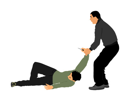 Self defense battle vector illustration. Man fighting against aggressor with knife. Krav maga demonstration in real situation. Combat for life against terrorist. Army skill in action. Policeman skill.