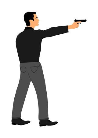 Man with gun shooting vector illustration. Hunter with pistol in shot. Public crime scene, gunfight battle. Police man on duty with weapon. Secret agent against terrorist. Vektorové ilustrace