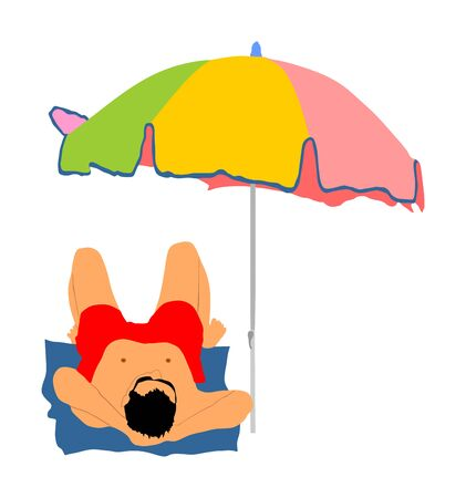 man sunbathing on the beach under parasol, vector illustration.