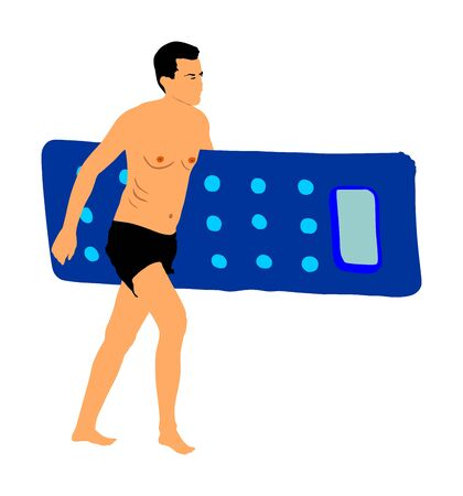 Young handsome man with air pool mattress walking on the beach, vector illustration. Man in swimwear. Sunbathing on the hot sunny summer day. Relaxation and fun by the sea. Life guard boy watching. Иллюстрация
