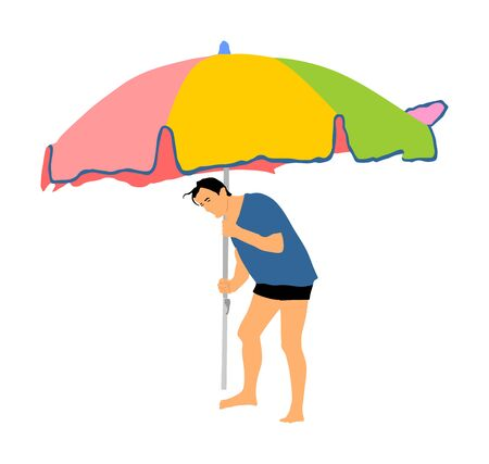 man enjoying on beach. Man stick parasol in sand. Happy boy sunbathing by the sea. Skin care protect. Weekend relaxing outdoor.