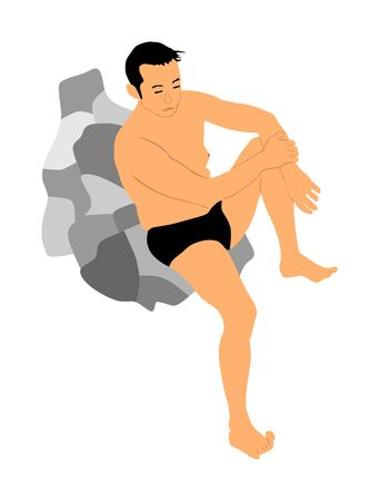Young handsome man sunbathing on rock by the sea, vector illustration. Boy in swimsuit enjoy and relaxing near the water. Macho man in bikini sitting on beach coast. Wet person after washing on sun. Иллюстрация