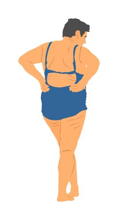 Senior woman on the beach in swimwear sunbathing vector illustration. Old person on beach after swimming. Active life. Summer time. Holiday rest and relaxation. Mature retail lady on sand vacation.