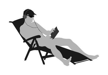 Hombre guapo disfrutando en la ilustración de vector de playa. Relájate en la piscina. joven exitoso en gafas de sol leyendo un libro y escuchando música en el hotel. Tomar el sol y refrescarse. Resort relajante.