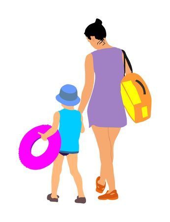 Happy Family enjoying and go to the beautiful sunny tropical beach vector illustration. Family beach day. Mother and daughter go to swimming and sunbathing.  Child hand holding mom. Summer time fun. Çizim