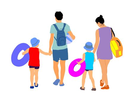 Happy Family Having Fun, and go to the beautiful sunny tropical beach vector illustration. Mother and father walking with kids, relaxing by the sea. Father and mother with children go to the swimming. Çizim