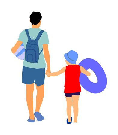 Happy Family Having Fun and go to the sunny tropical beach vector illustration. Father walking with son holding hands, relaxing by the sea. Dad with child go to the swimming. Fathers day