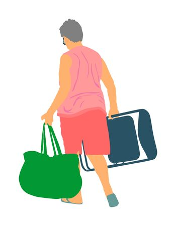 Senior woman walking on the beach with chair and bag vector illustration. Mature lady camping. Summer time activity. Active life on vacation. Lady relaxed near water. Weekend enjoy outdoor activity.
