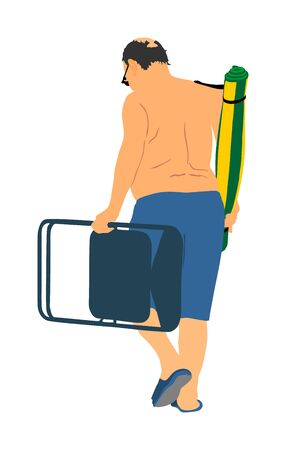 Senior man on the beach, vector illustration. Mature man walking on the beach with chair and rug. Sunbathing, health care concept. Veteran relaxed near the water. Weekend enjoy outdoor activity. Ilustrace