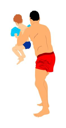 Father and little son playing on the beach, vector illustration. Dad holding in hands little boy by swimming pool. Sunbathing family enjoying in summer day. Teaching swimming lesson. Sunny day active.