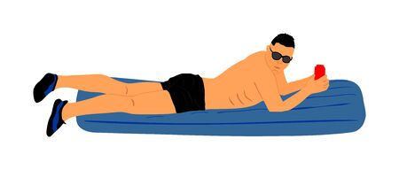 Young man floating on a mattress vector illustration. Sunbathing on beach. Handsome man with air pool mattress. Sunny summer day. Enjoy by sea. Water sport activity. Relaxing and drinking fresh drink.