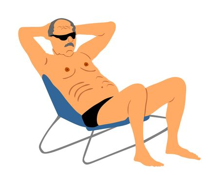 Retired old man on vacation sitting in beach chair, vector illustration. Senior on beach. Mature sunbathing. Healthy man enjoy in summer day. Free time in resort. Enjoying in sun. Relaxing and fun.