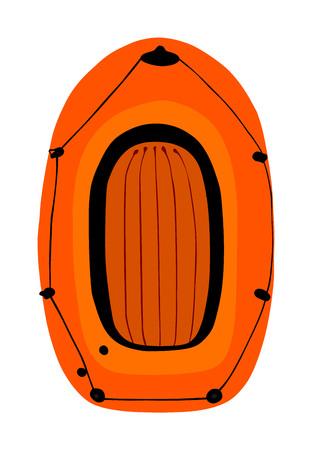 Vecteur de bateau gonflable isolé sur fond blanc. Bateau pneumatique soufflant par air. Équipement de joie d'été pour la détente et les loisirs d'été. Kit de sports nautiques. Outil de sauvetage de sauveteur pour la plage. Plaisir au bord de la mer Vecteurs
