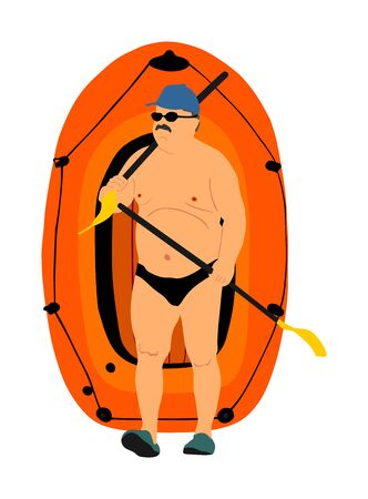 Man carrying row boat (rubber boat) and paddles vector illustration. Beach funny day. Mature man, senior sunbathing, Summer lifestyle holiday sunbathing fat man have resting. Hobby activity outdoor. Иллюстрация