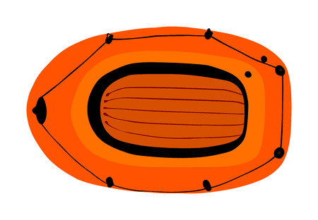 Inflatable boat vector isolated on white background. Rubber boat blowing by air. Summer joy equipment for relaxing and leisure summer time. Water sport kit. Lifeguard rescue tool for beach. Fun by sea